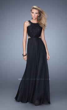 Picture of: High Scoop Neck Chiffon Prom Dress with Lace Bodice, Style: 21336, Main Picture