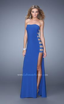 Picture of: Side Slit Jersey Prom Dress with Stones and Sheer Netting in Blue, Style: 21338, Main Picture