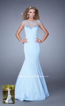 Picture of: Satin Mermaid Dress with Sheer Neck and Cap Sleeves, Style: 21345, Main Picture