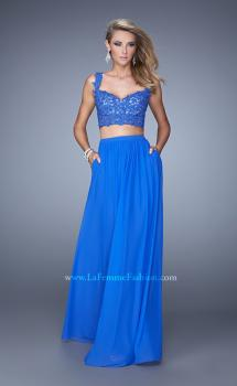 Picture of: Beaded Lace To Two Piece Prom Dress with Pockets in Blue, Style: 21347, Main Picture