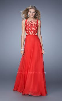 Picture of: Sleeveless Chiffon Prom Dress with Lace Appliques in Red, Style: 21353, Main Picture