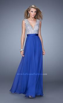 Picture of: Embroidered Bodice Prom Dress with Keyhole Back in Blue, Style: 21354, Main Picture
