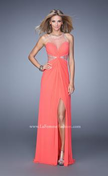 Picture of: Net Jersey Gown with Stones and Gathered Knot Detail in Coral, Style: 21355, Main Picture