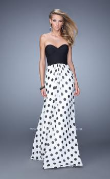 Picture of: Chic Prom Dress with Polka Dot Print Skirt and Open Back in Polka Dots, Style: 21359, Main Picture