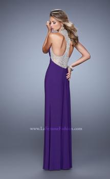 Picture of: Jersey Prom Dress with Embroidered Halter Straps in Purple, Style: 21362, Main Picture