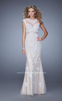 Picture of: Long Cap Sleeve Prom Dress with Lace Appliques and Stones, Style: 21371, Main Picture