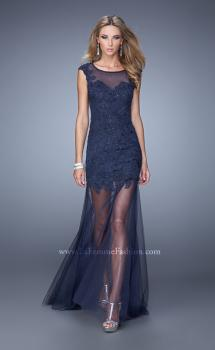 Picture of: Glam Lace Prom Dress with Cap Sleeves and Tulle Skirt, Style: 21373, Main Picture