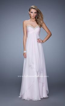 Picture of: Chiffon Prom Dress with Tiered Skirt and Embroidery in Pink, Style: 21374, Main Picture