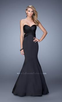 Picture of: Open Back Satin Mermaid Style Prom Dress in Black, Style: 21375, Main Picture