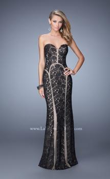 Picture of: Lace Prom Dress with Sweetheart Neck and Cut Outs in Black, Style: 21376, Main Picture