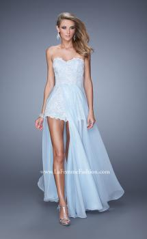 Picture of: Bold Lace Romper with Flowing Chiffon Skirt in Blue, Style: 21383, Main Picture