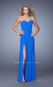Picture of: One Shoulder Prom Gown with Gathered Bodice and Stones in Blue, Style: 21384, Main Picture