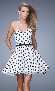 Picture of: Polka Dot Cocktail Dress with Satin Bow Belt and Pockets, Style: 21388, Main Picture