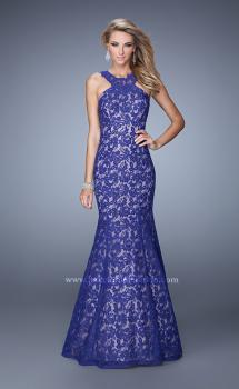 Picture of: Lace Mermaid Prom Dress with Sheer Halter Neckline in Purple, Style: 21389, Main Picture
