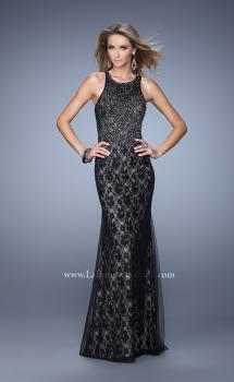 Picture of: Lace Dress with Tulle Overlay and Rhinestones, Style: 21426, Main Picture