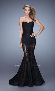 Picture of: Mermaid Prom Dress with Sheer Lace and Shorts in Black, Style: 21428, Main Picture