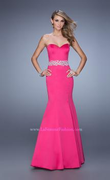 Picture of: Satin Mermaid Prom Dress with Embroidered Belt in Hot Pink, Style: 21432, Main Picture
