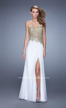 Picture of: Strapless Chiffon Dress with Sheer Corset Bodice in White, Style: 21437, Main Picture