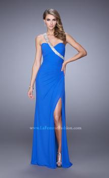 Picture of: One Shoulder Jersey Gown with Stones, Sequins, and Slit in Blue, Style: 21441, Main Picture