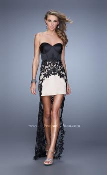 Picture of: Tone Toned Prom Dress with High Low Skirt and Piping in Black and Nude, Style: 21455, Main Picture