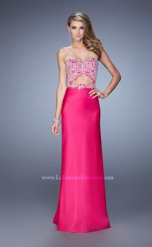 Picture of: Elegant Satin Dress with Sheer Straps and Waist Cut Outs in Hot Pink, Style: 21458, Main Picture