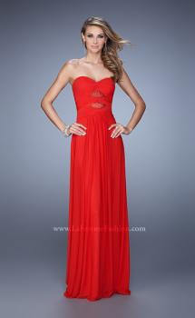 Picture of: Gathered Bodice Prom Dress with Rhinestone Accents, Style: 21462, Main Picture