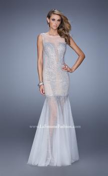 Picture of: Mermaid Dress with Tulle Skirt and Iridescent Stones, Style: 21466, Main Picture
