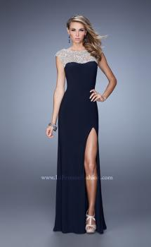 Picture of: Jersey Prom Dress with Sheer Detail and Side Leg Slit in Navy, Style: 21467, Main Picture