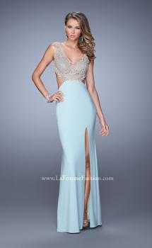 Picture of: Sheer Bodice Prom Dress with V Neck and Side Cut Outs, Style: 21469, Main Picture