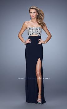 Picture of: Embroidered Strapless Prom Dress with Side Leg Slit in Navy, Style: 21476, Main Picture