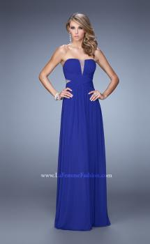 Picture of: Net Jersey Dress with Gathered Bodice and V Neckline in Blue, Style: 21483, Main Picture