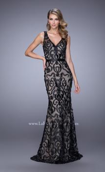 Picture of: Lave Prom Dress with Low V Back and Attached Belt, Style: 21491, Main Picture