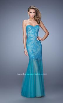 Picture of: Lace Sheer Tulle Skirt Prom Dress with Rhinestones in Teal, Style: 21504, Main Picture