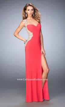 Picture of: Glam Jersey Prom Dress with Front Slit and Lace in Orange, Style: 21518, Main Picture