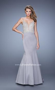 Picture of: Satin Mermaid Dress with V Neck and Metallic Detail in Silver, Style: 21522, Main Picture