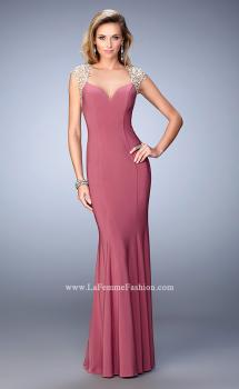 Picture of: Long Jersey Prom Dress with Lace Applique Sleeves in Rose, Style: 21529, Main Picture