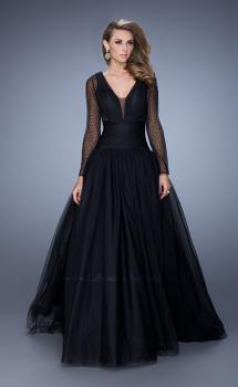 Picture of: Vintage Inspired Tulle Gown with Sheer Beaded Sleeves in Black, Style: 21539, Main Picture