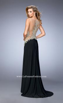 Picture of: Jersey Dress with Illusion Bodice, Train, and Rhinestones, Style: 21558, Main Picture