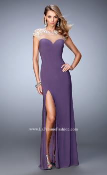 Picture of: Low Back Jersey Prom Dress with Lace Appliques in Purple, Style: 21590, Main Picture
