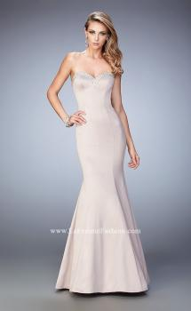 Picture of: Long Mermaid Prom Dress with Stones and Cut Out Back in Champagne, Style: 21591, Main Picture