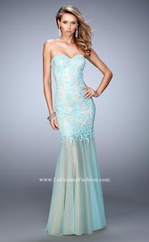 Picture of: Net Mermaid Prom Dress with Sheer Skirt and Rhinestones in Mint, Style: 21604, Main Picture