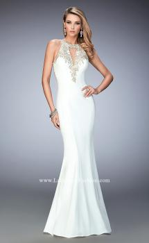 Picture of: Jersey Mermaid Gown with Metallic Lace Appliques, Style: 21607, Main Picture