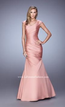 Picture of: V Neck Satin Evening Dress with Cap Sleeves, Style: 21610, Main Picture