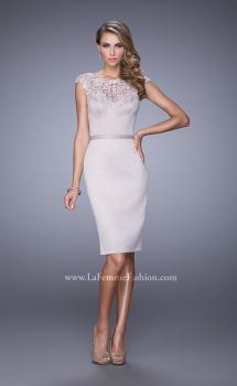 Picture of: Stretch Satin Dress with Intricate Lace Detailing in Champagne, Style: 21619, Main Picture