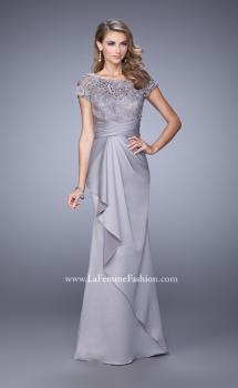 Picture of: Glam Evening Dress with Scoop Neckline and Lace Bodice in Silver, Style: 21620, Main Picture