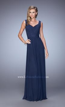 Picture of: V Neck Evening Dress with Jewel Adorned Bodice in Navy, Style: 21624, Main Picture