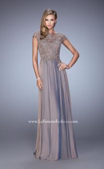 Picture of: Chiffon Dress with Lace Bodice and Cap Sleeves, Style: 21627, Main Picture