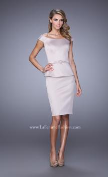 Picture of: Off the Shoulder Cocktail Dress with Beaded Belt in Champagne, Style: 21637, Main Picture