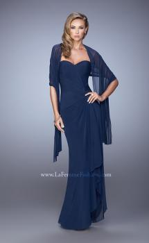 Picture of: Form Fitting Jersey Dress with Knot Detail and Ruffles in Navy, Style: 21645, Main Picture