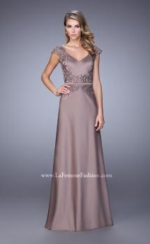 Picture of: V Neck Evening Dress with Cap Sleeves and Thin Belt, Style: 21652, Main Picture